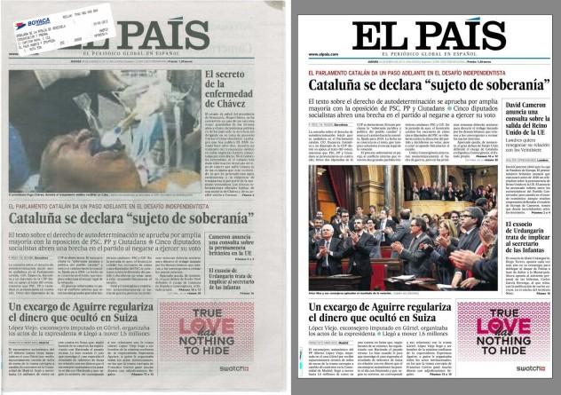 La edición inicial para este 24 de enero, que fue recogida (tal como llegó a la embajada venezolana en España) vs. la nueva edición que tuvo que ser reimpresa en la madrugada. Fuente: Ernesto Villegas y Kiosko.net