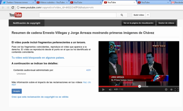 """Mensaje que Youtube mostró al personal de Alba Ciudad indicándole que el video había sido """"bloqueado en varios países"""" a solicitud de Univisión."""