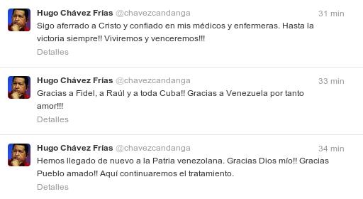 Los tres históricos tuits en los que el presidente Hugo Chávez anuncia su retorno.