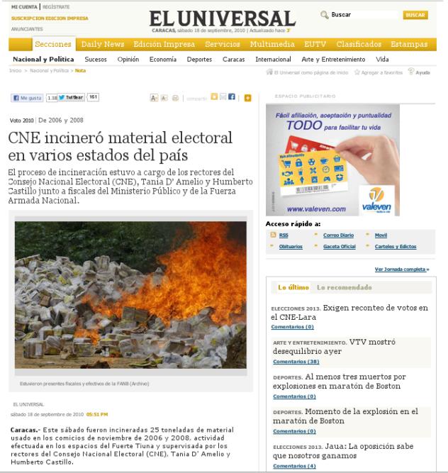 El Universal, 18 de septiembre de 2010. Ver aquí