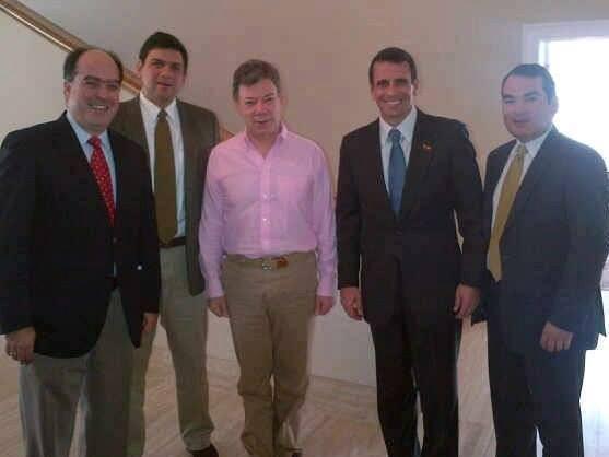 Julio Borges, Carlos Ocariz y Tomás Guanipa también acompañaron a Capriles en su visita a Santos