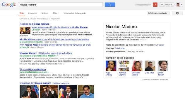 """Así aparece una búsqueda de """"Nicolás Maduro"""" este viernes; en el panel de """"Knowledge Graph"""" colocado a la derecha ya no aparece la caricatura con el rostro desfigurado de Maduro, ni ninguna otra."""