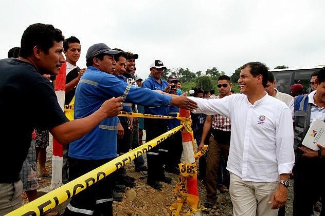 Correa en Quevedo, Ecuador, este jueves. Foto: Presidencia de Ecuador