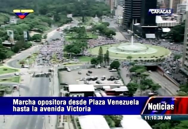 Imagen de VTV a las 11:10 AM desde Plaza Venezuela