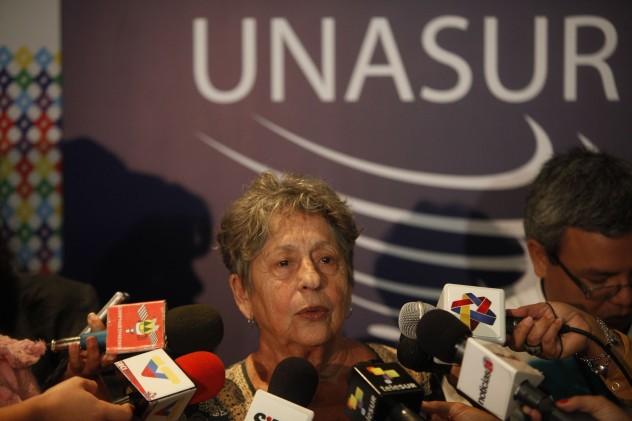 Declaraciones de Judith Valencia  durante la Conferencia de Unasur sobre Recursos Naturales el pasado 28 de mayo. Foto: AVN