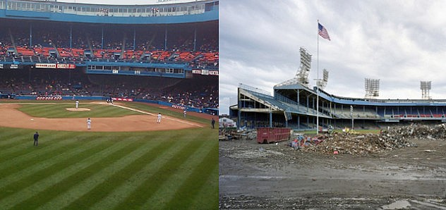 El viejo estadio de béisbol de los Tigers de Detroit, antes y ahora.