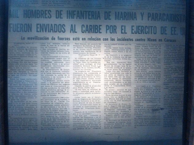 """""""Mil hombres de Infantería de Marina y paracaidistas fueron enviados al Caribe por el Ejército de EEUU"""", tituló El Nacional del 14 de mayo de 1958"""