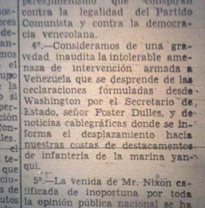 """El Partido Comunista de Venezuela emitió un comunicado rechazando la """"intolerable amenaza de intervención armada a Venezuela"""". Fuente: El Nacional, 14 de mayo de 1958"""