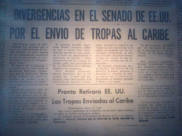 Hubo que esperar a que Nixon se retirara de Venezuela para que los buques de guerra estadounidenses que amenazaron a neustro país se replegaran. Fuente: El Nacional, 15 de mayo de 1958.
