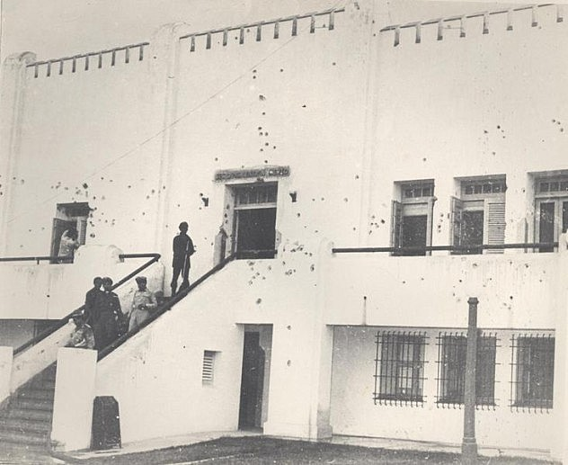 Seccion de la fachada principal del cuartel Moncada