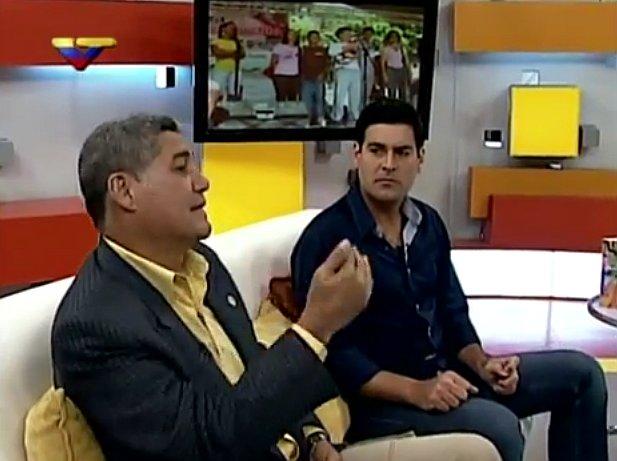 Diputado Eduardo Piñate (izq.) y Roberto Mesutti entrevistados en VTV