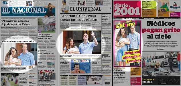 Portadas de los diarios El Nacional y El Universal dando protagonismo al nacimiento del hijo de Kate Middleton y el príncipe Guillermo, así como el Penélope Cruz y Javier Bardem.