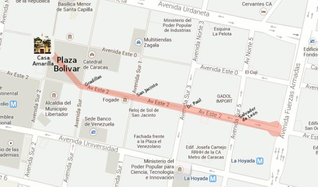 Mapa con la segunda estación celebrando los 200 años de la llegada de Bolívar a Caracas.