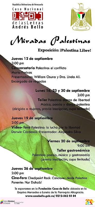 MIRADAS PALESTINAS. PROGRAMACION CULTURAL SEPTIEMBRE 2013
