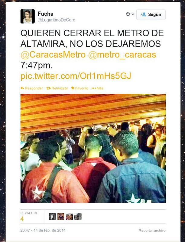 Mensaje en la red social Twitter en el que opositores reconocen que lucharon con funcionarios del Metro de Altamira para intentar evitar que cerraran la estación.
