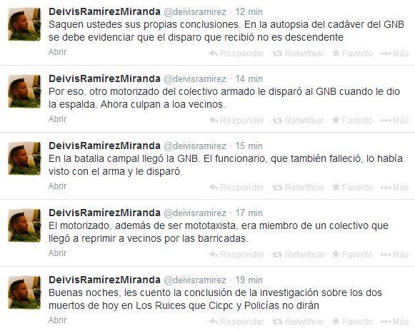 Tuits de Deivis Ramírez