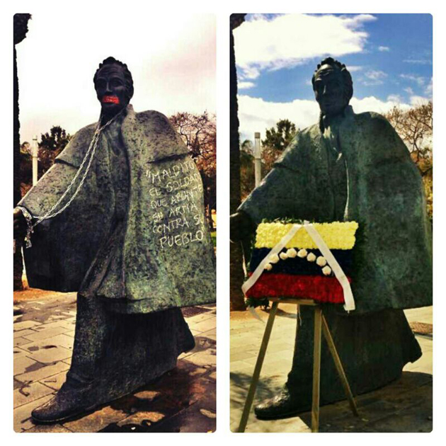 foto contraste bolivar agraviado vs dignificado