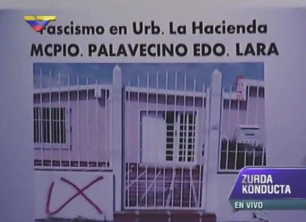 """Diferentes casas en el municipio Palavecino, estado Lara, han sido marcadas con símbolos indicando que son """"chavistas"""". Foto presentada por el diputado Julio Chávez días atrás."""