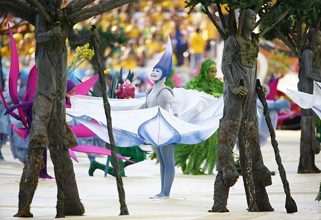 Performers dance during the opening ceremony of the 2014 World Cup at the Corinthians arena in Sao Paulo
