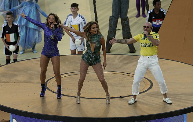 Singers Leitte, Lopez and Pitbull perform during the 2014 World Cup opening ceremony at the Corinthians arena in Sao Paulo