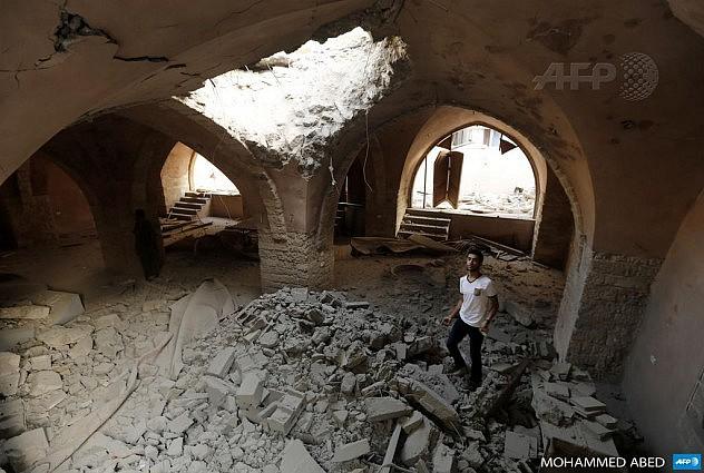 Mezquita Al-Omeri en Jabalia, norte de la franja de Gaza. Foto: AFP