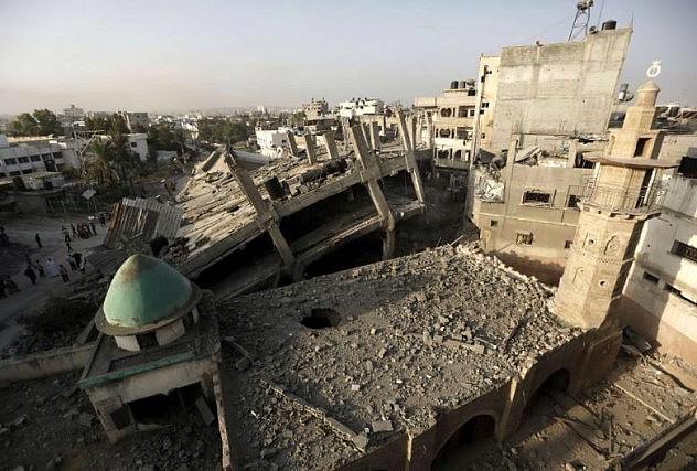 Mezquita al-Omeri en el norte de la franja de Gaza. Foto: AFP