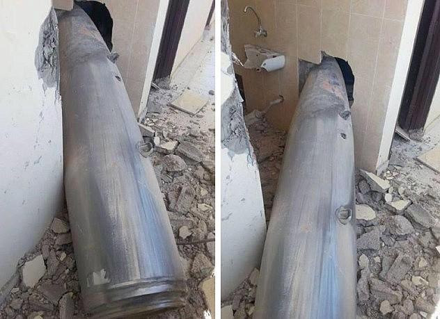 Uno de los misiles  que impactó en puesto fronterizo en Rafah. Foto: @MuhGazaa
