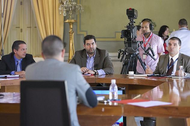 Reunión en MIraflores con directivos de Locatel y Farmatodo el pasado 27 de enero. Foto: Vicepresidencia
