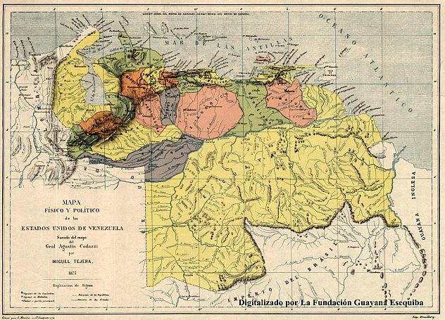 1875 - Miguel Tejera Mapa Fisico y Politico de los EE.UU de Venezuela