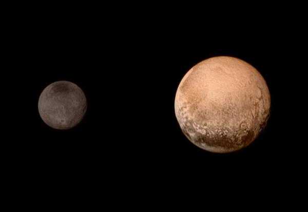 Plutón y su mayor satélite, Caronte