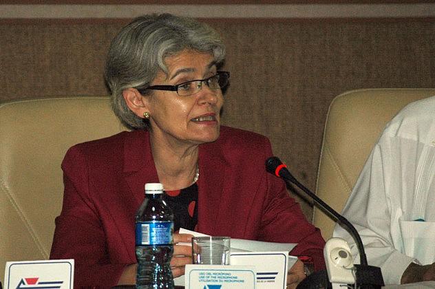 18 de Septiembre del 2015 sala 4 del Palacio de las ConvencionesMinistros de Cultura,En la imágen Irina Bukova Directora de la UNESCO.Fotos: César A. Rodriguez.