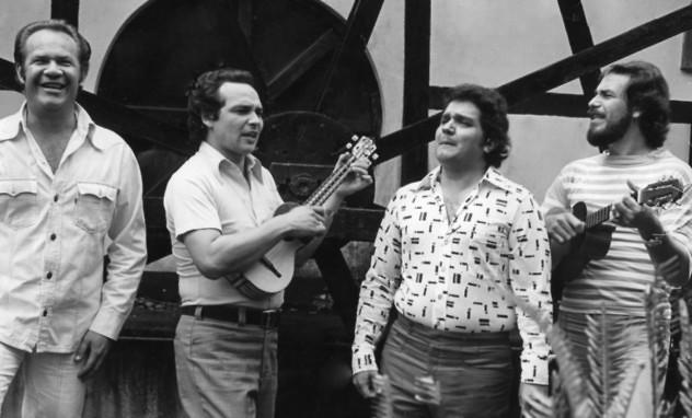 La agrupación musical Serenata Guayanesa. En la gráfica, sus integrantes: Iván Pérez Rossi, César Pérez Rossi, Hernán Gamboa, Mauricio Castro.