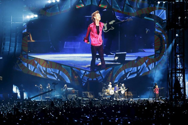 Mick Jagger of the Rolling Stones is seen on a giant screen as he performs during a free outdoor concert at Ciudad Deportiva de la Habana sports complex in Havana, Cuba March 25, 2016. REUTERS/Ueslei Marcelino