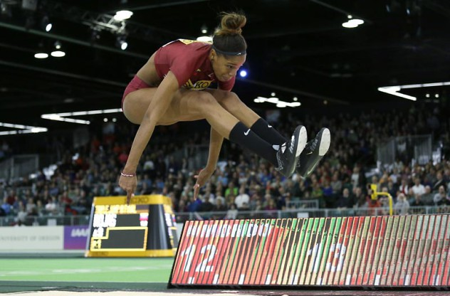Venezuela's Yulimar Rojas jumps in the women's triple jump final during the World Indoor Athletics Championships, Saturday, March 19, 2016, in Portland, Ore. (AP Photo/Elaine Thompson)
