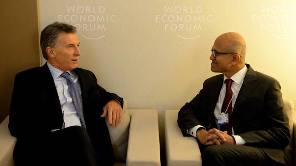 Mauricio Macri y Satya Nadella, CEO de Microsoft