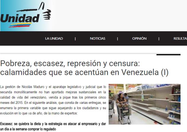 La web de la Mesa de Unidad en la que aparece la imagen manipulada y descontextualizada.