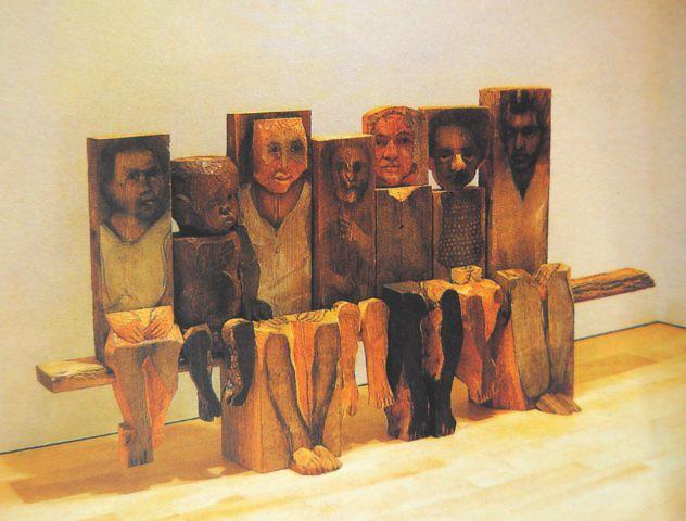 Marisol Escobar, niños_sentados_en_un_banco_1994