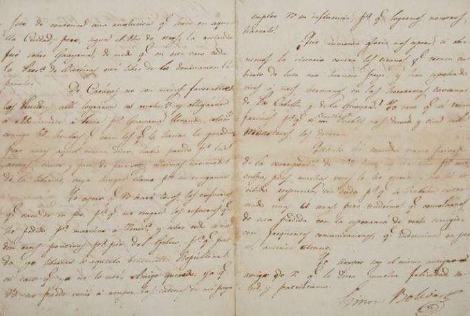 Carta firmada por Bolívar tras la victoria en Cúcuta. La subastan entre 7 mil y 10 mi dólares.