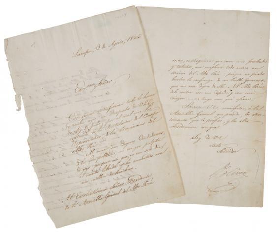 Esta carta firnmada por Bolìvar, aceptando el liderazgo del Alto Perú, es subastada entre 8 mil y 12 mil dólares.