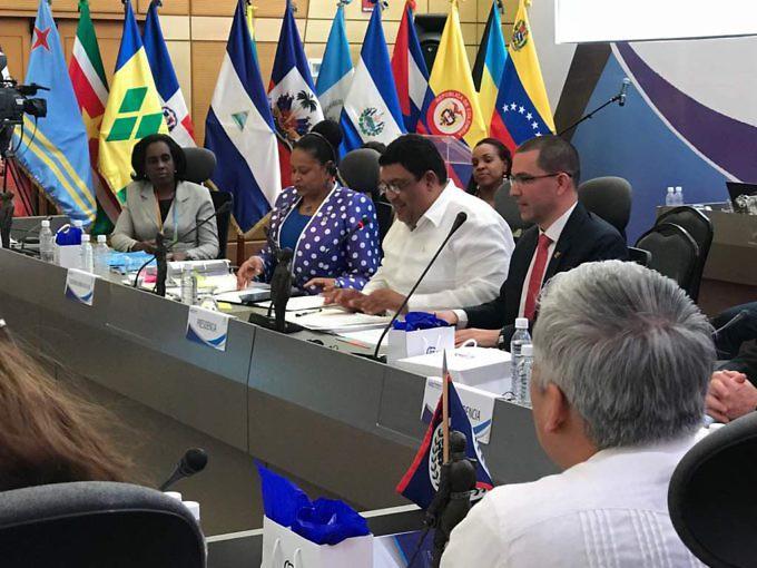 El canciller de la República Bolivariana de Venezuela, Jorge Arreaza expuso los resultados de la reunión llevada a cabo en la isla de Margarita