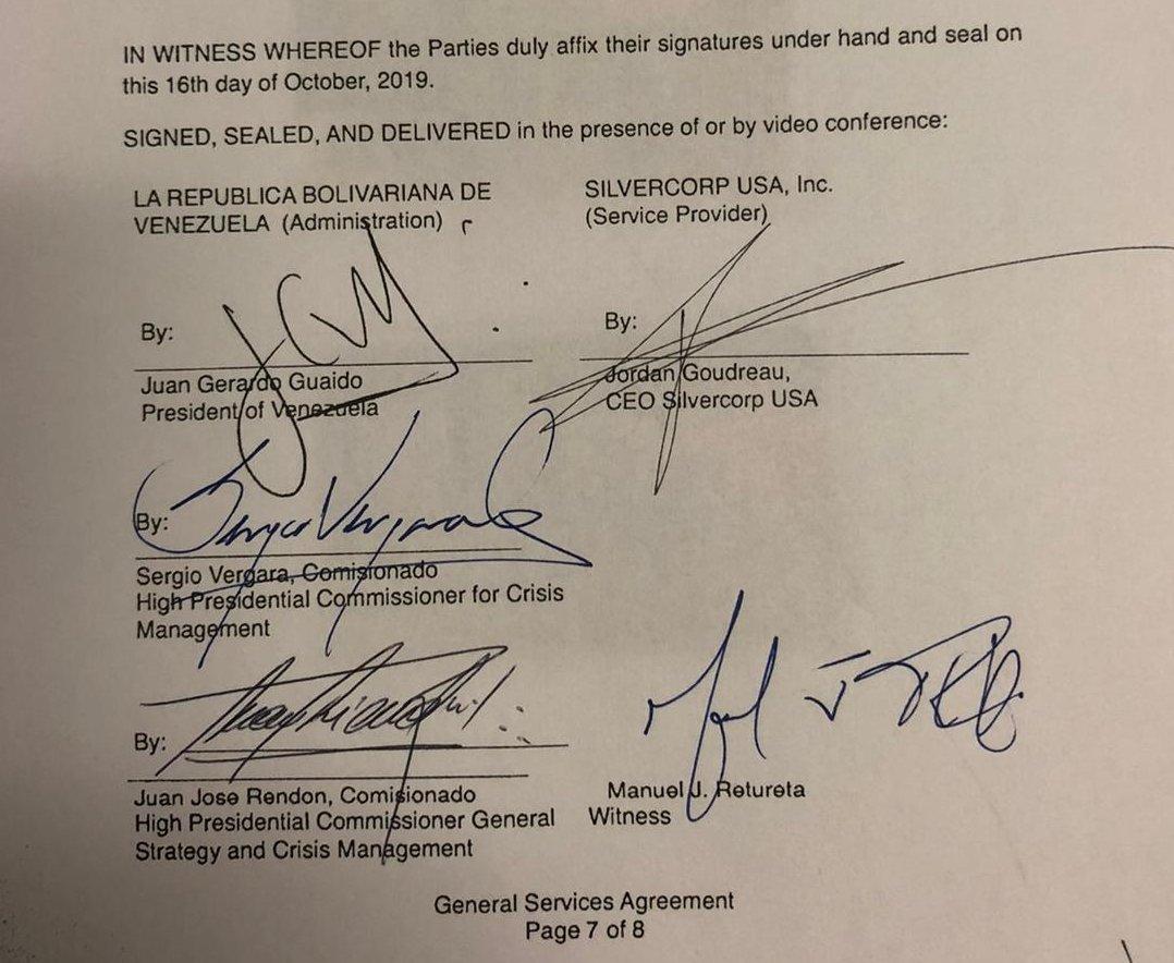 Imagen del contrato con la firma de Guaidó