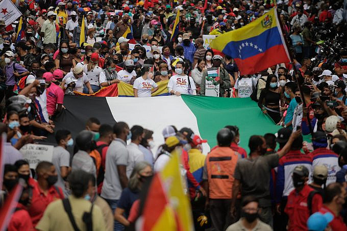 People mobilize in support of the Palestinian people, in Caracas, Venezuela, on Tuesday, May 25, 2021. Photo: Jesús Vargas, AVN
