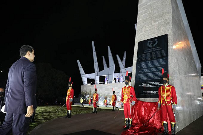 President Maduro in front of the new Carabobo Battle monument. Photo courtesy of Prensa Presidencial.